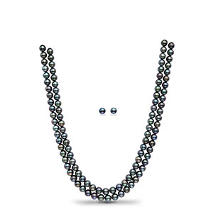 Light Black Round Pearl Necklace Set