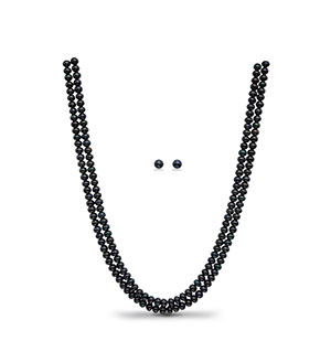 Black Button Pearl Necklace Set