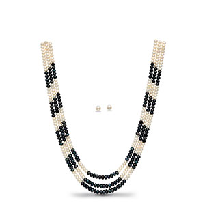 Black White Button Pearl Necklace Set