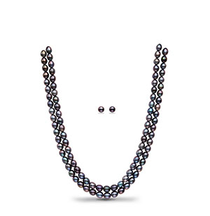 Blackish Purple Pearl Necklace Set