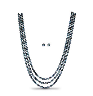 Blackish Blue Pearl Necklace Set
