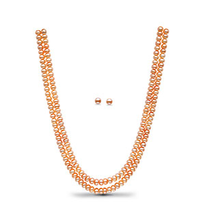Peach Button Pearl Necklace Set