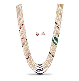 Attractive Real Ruby Emerald Sapphire Pearls Necklace Set
