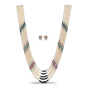 Beautiful Ruby Emerald Sapphire Pearls Necklace Set