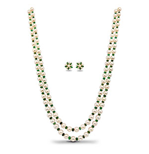 Pearls and Real Emerald Necklace Set