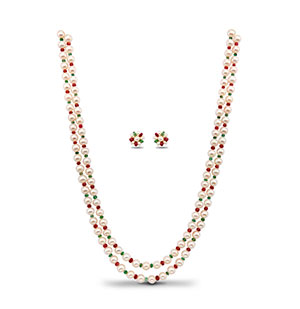 Pearls and Real Ruby Emerald Necklace set
