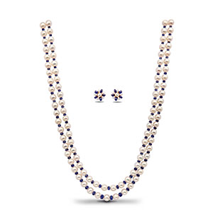 Pearls and Real Sapphire Necklace Set