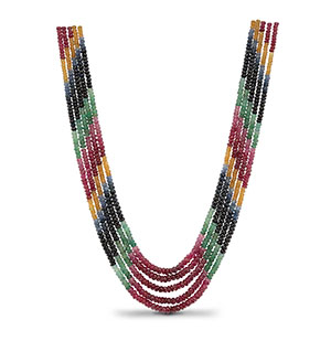 Rainbow Mala (Real Ruby Emerald Blue and Yellow Sapphire)