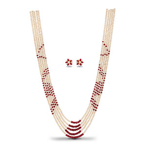 Real Ruby and Pearls Necklace Set