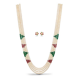 Real Ruby Emerald and Pearls Necklace set