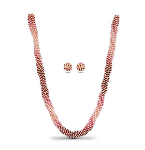 Real Shaded Ruby and Pearls Necklace Set