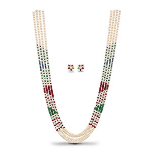 Sparkling Real Ruby Emerald Sapphire Pearls Necklace Set