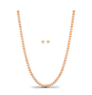 Pink Single Row Necklace Set