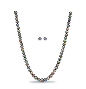 Black Single Row Necklace Set