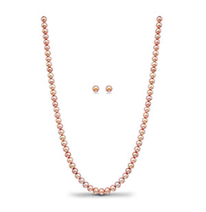 Peach Single Row Necklace Set