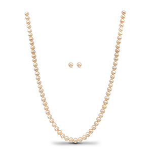 Decent White  Pearls Necklace Set