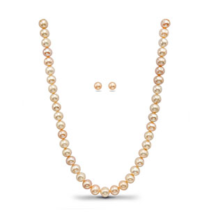 Pinkish White  Pearls Necklace Set