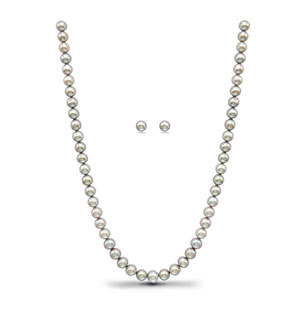 Grey Pearls Necklace Set