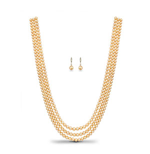 Golden (Small) Saltwater Akoya Pearls Necklace Set