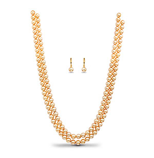 Golden Saltwater Akoya Pearls Necklace Set