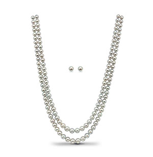 Grey Saltwater Akoya Pearls Necklace Set(Grading)