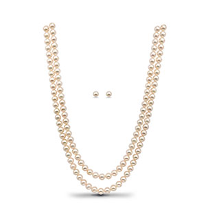 White Saltwater akoya Pearls Necklace Set