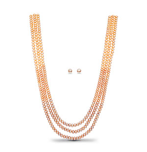 Pink Peach Shaded Pearl Necklace Set
