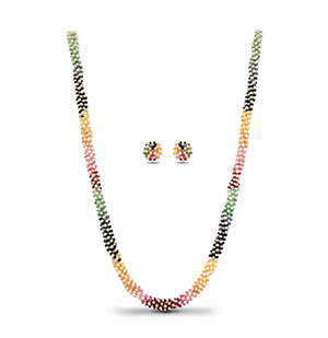 Rainbow and Pearls Necklace set