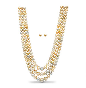 South Sea Multi Shaded Pearls Necklace Set