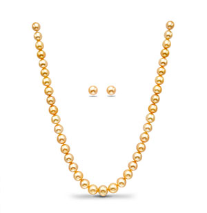 Golden South Sea Pearls Necklace Set