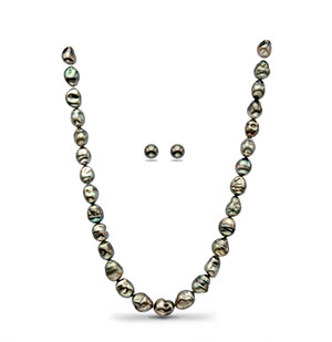 Black Baroque Tahitian Saltwater  Pearls Necklace Set