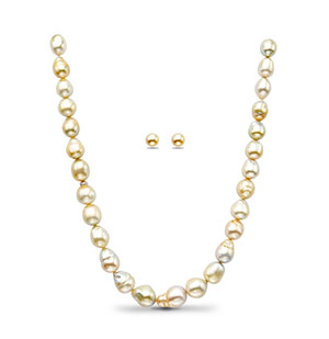 Cream Saltwater South Sea Pearls Necklace Set