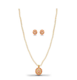 Fancy CZ Stone Pearls Necklace Set
