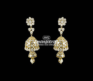Cute Uncut Diamond Double Jhumki