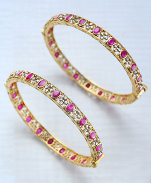 Classic Uncut Diamond with ruby Bangles