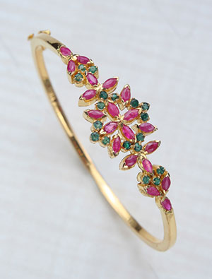 Gorgeous Ruby with Emerald Bangle