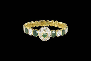 Nizami Uncut Diamond with Emerald Bracelet