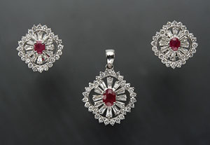 Ruby with Diamond Locket Set