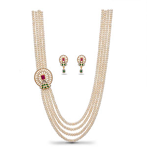Simple Side Piece Pearls Necklace Set