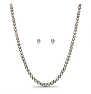 Grey Round Pearl Necklace Set