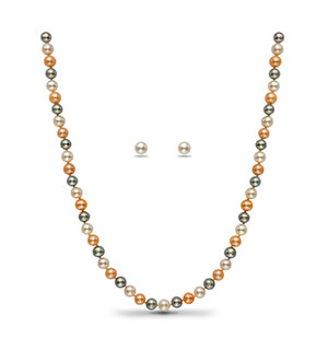 Multi Colour Round  Pearl Necklace Set