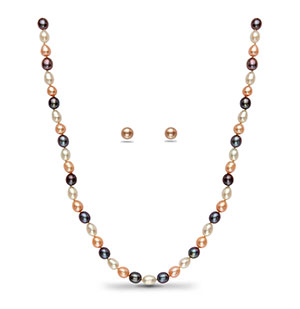Multi Colour Drop Pearl Necklace Set