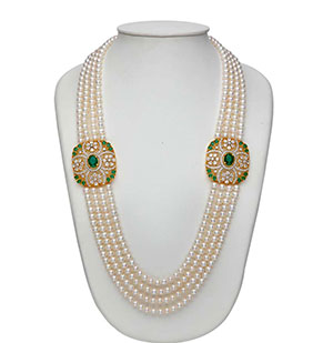 Floral Side Pieces Pearls Necklace Set