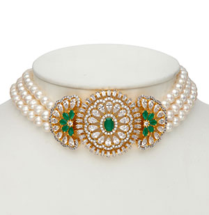 Studded Chowker Pearls Necklace Set