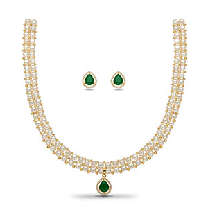 Green Stone Pearls Necklace Set