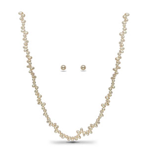 Unique White Pearl Necklace Set