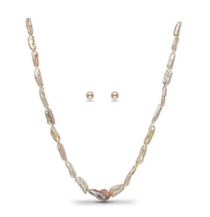 Shaded Baroque Pearl Necklace Set