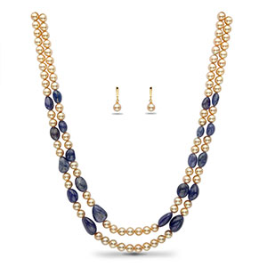 Real Tanzanite Beads and Golden Saltwater Akoya Pearls Necklace Set