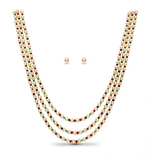 Real Ruby Emerald Sapphire Beads and Golden Saltwater Akoya Pearls Necklace Set