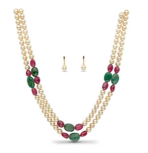 Real Ruby Emerald Beads and Golden Saltwater Akoya Pearls Necklace Set
